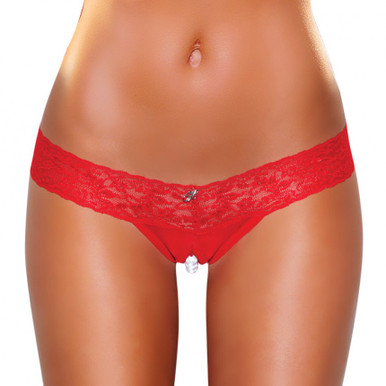 CROTCHLESS PANTIES W/PEARL BEADS RED ML | ELHVP02REDML | [category_name]