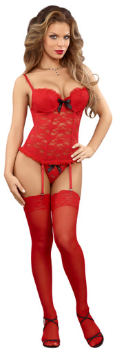 BUSTIER & G-STRING RED S/M (LUV LACE) | MSB473REDSM | [category_name]