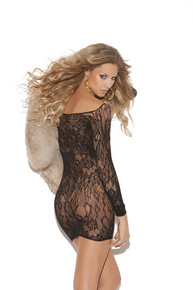 LONG SLEEVE LACE MINI DRESS BLACK O/S | ELM8799 | [category_name]