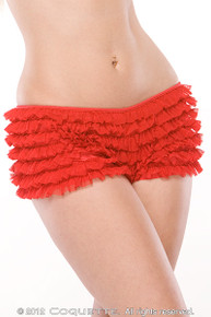 RUFFLE SHORTS W/BACK BOW RED O/S | CQ114RD | [category_name]