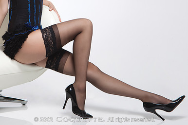 SHEER THIGH HIGH W/ SILICONE GRIP LACE TOP BLK OS | CQ1750BLK | [category_name]