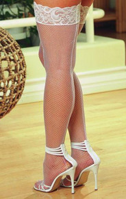 THIGH HIGH FISHNET WHITE OS QUEEN INMILANIN | DG0001XWH | [category_name]
