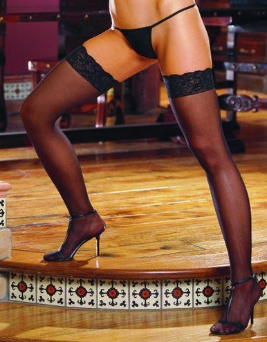 THIGH HIGH SHEER LACE BLACK OS INAMBROSEIN | DG0002BK | [category_name]