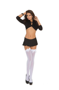 OPAQUE THIGH HI W/ SATIN BOW RED O/S