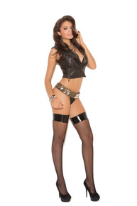 FISHNET W/THIGH HI VINYL TOP BLACK O/S