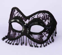 MASK VENETIAN BLACK LACE W/BEADS | FN58653 | [category_name]