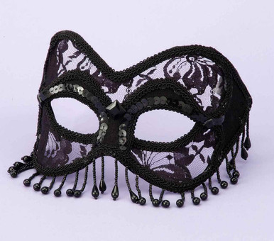 MASK VENETIAN BLACK LACE W/BEADS   FN58653   [category_name]