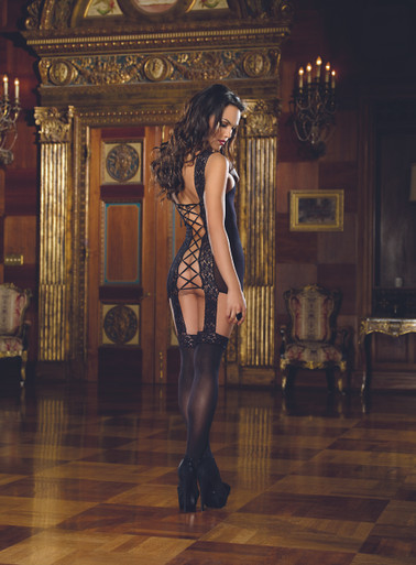 LACE UP BACK GARDER DRESS W/ ATTACHED STOCKING BLK O/S | DG0144 | [category_name]