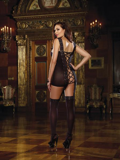 LACE UP BACK GARTER DRESS BLACK QUEEN | DG0144X | [category_name]