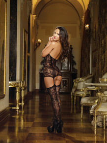 LACE FISHNET HALTER GARTER DRESS BLACK O/S | DG0145 | [category_name]