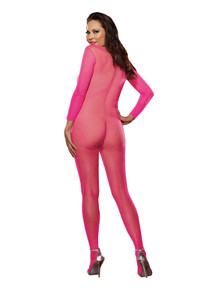 BODY STOCKING NEON PINK O/S QUEEN