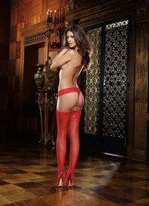 LACE TOP THIGH HIGH RED O/S | DG0005RD | [category_name]
