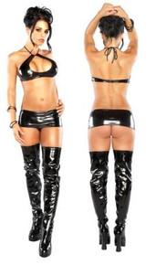 Halter Mini Skirt & G Black L/X(LIQUID ONYX)