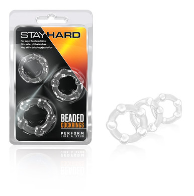STAY HARD BEADED COCKRINGS 3PC CLEAR | BN00012 | [category_name]