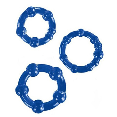 STAY HARD BEADED COCKRINGS 3PC SET BLUE   BN00013   [category_name]