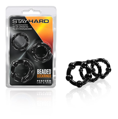STAY HARD BEADED COCKRINGS 3PC BLACK | BN00015 | [category_name]