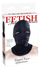 FETISH FANTASY BLACK ZIPPER FACE HOOD