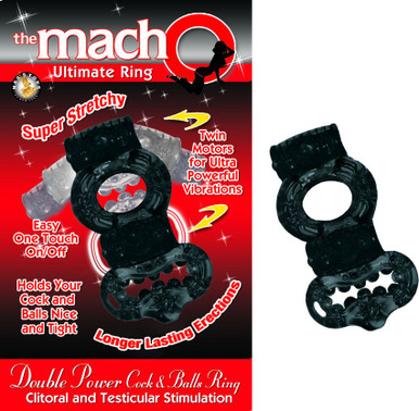 DOUBLE POWER COCK & BALLS RING BLACK | NW22573 | [category_name]