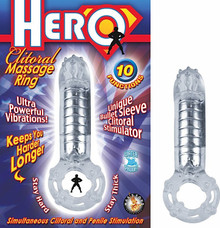 HERO COCKRING & CLIT MASSAGER CLEAR