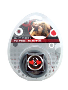 H2H COCK RING NITRILE 3PC SET GREY | PY1200G | [category_name]