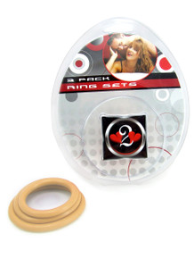 H2H COCK RING NITRILE 3PC SET NUDE | PY1200N | [category_name]