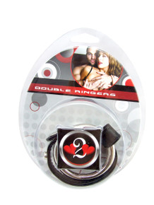 H2H COCK RING DOUBLE LEATHER METAL BLACK | PY36 | [category_name]