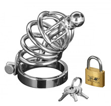 MASTER SERIES 4 RING CHASTITY CAGE W/URETHAL PLUG SM/M   XRAD147SM   [category_name]