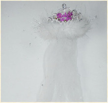BRIDE 2B TIARA FLASHING WHITE FUR VEIL | GAFTBTBVS | [category_name]