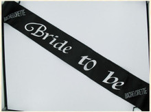 BRIDE 2B SASH BLACK W/CLEAR STONES