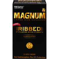 TROJAN MAGNUM RIBBED 12 PACK | T64215 | [category_name]