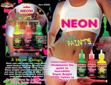 NEON BODY PAINTS 3PK CARDED