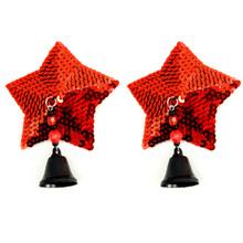 BIJOUX NIPPLE COVERS SEQUIN STAR W/BELLS RED