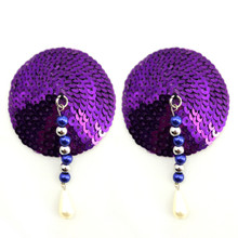 BIJOUX NIPPLE COVERS SEQUIN ROUND W/ANODIZED BEADS PURPLE
