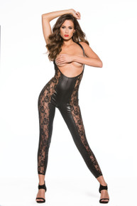 KITTEN LACE & WET LOOK CATSUIT O/S