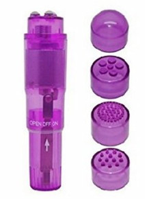 (BULK) CLOUD 9 NOVELTIES MINI MASSAGER POCKET ROCKET PURPLE W/ 4 ATTACHMENTS (NET)