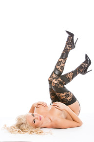 KITTEN LACE & WET LOOK TIGHTS W/G-STRING O/S