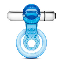 STAY HARD 10 FUNCTION VIBRATING TONGUE RING BLUE