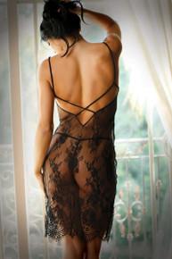 FORBIDDEN LOVE LACE SLIP DRESS BLACK L/XL