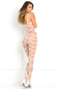 STRAPPED UP SHEER BODYSTOCKING WHITE O/S (NET)