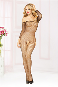 OFF THE SHOULDER BODY STOCKING O/S BLACK