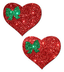 PASTEASE SWEETY RED GLITTER HEART W/GREEN GLITTER BOW