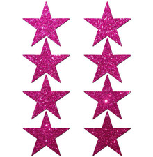 PASTEASE MINI GLITTER STARS HOT PINK 8 PACK