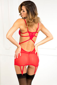 STRAPPY SEDUCTIVE GARTER RED M/L (NET)