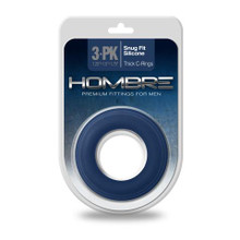 HOMBRE SNUG FIT SILICONE THICK C-RING 3 PK NAVY