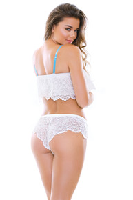 ROBYN LACE TOP & SHORTIE SET WHITE BABY/BLUE M/L