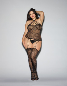 BUSTIER BODYSTOCKING BLACK O/S QUEEN