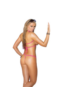 BIKINI 2PC SWIMWEAR SET O/S NEON PINK W ZIPPERS