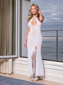 KEYHOLE GOWN & GSTRING WHITE WHITE MEDIUM