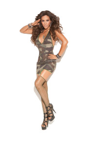 DRESS W/GARTERS & STOCKINGS CAMOUFLAGE O/S