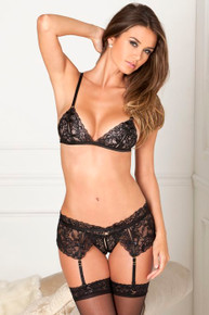 LACE GARTER SET 3PC BLACK M/L (NET)